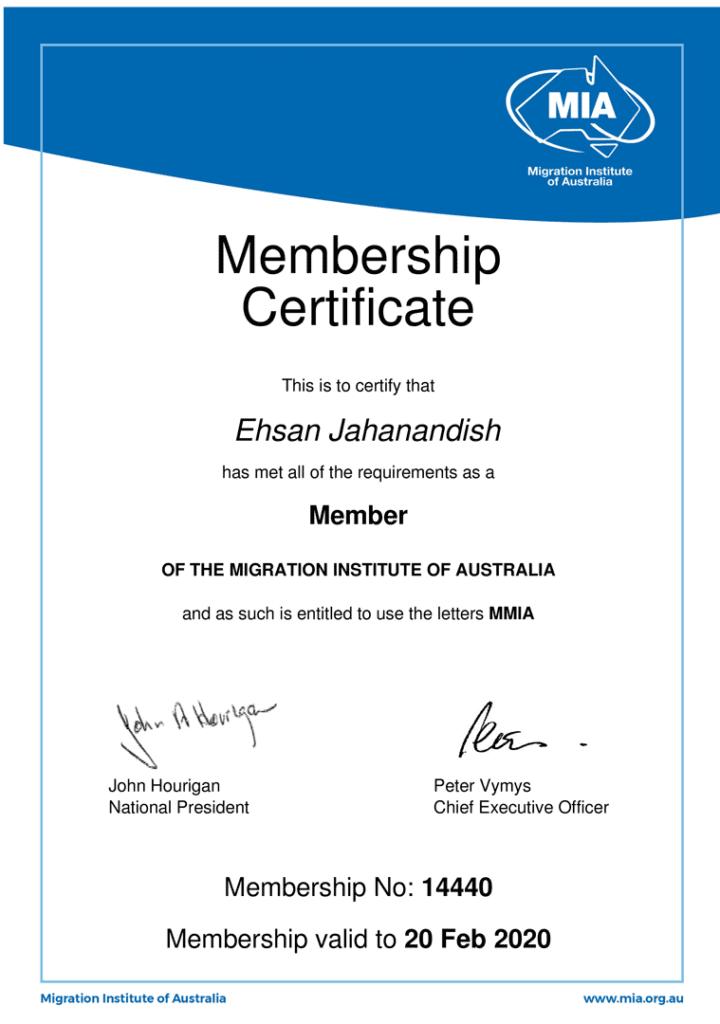 ehsan jahan andish certificate
